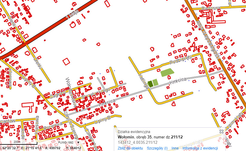 orientacyjna lokalizacja działek w Wołominie przy ul. Kmicica