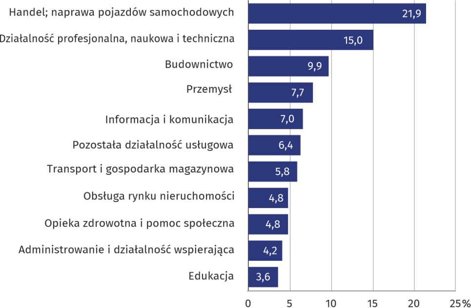 Udział podmiotów gospodarki narodowej według wybranych sekcji PKD w 2019 r.