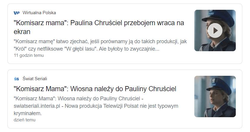 media o serialu Komisarz Mama i Paulinie Chruściel